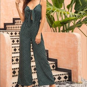 Green Jumpsuit w/ White Polkadots and Bow